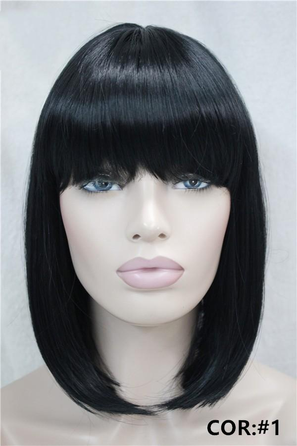 Corto, recto, rubio, resaltado, con flequillo, peluca sintética, pelucas de mujer