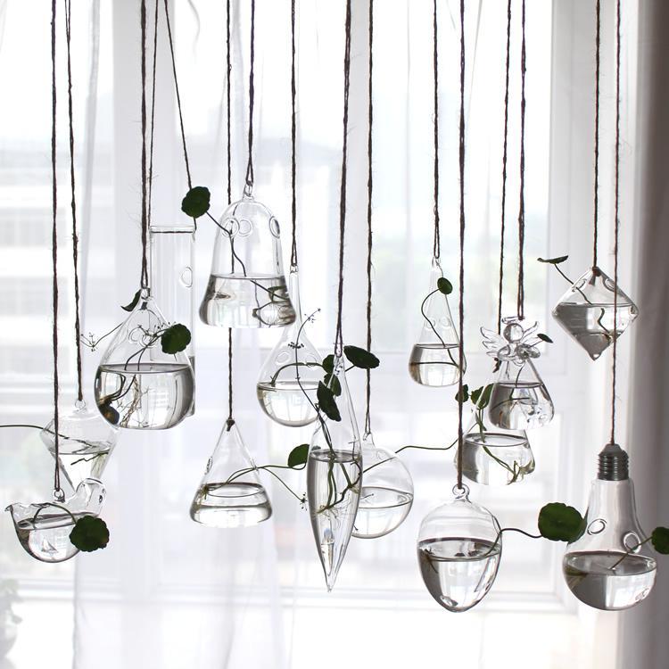 Terrarium Glas hängende Vase Flasche Pflanze Blume Dekoration Hausgarten Bar Stil hängende Blumenvase Hochzeit Herzstück Vasen