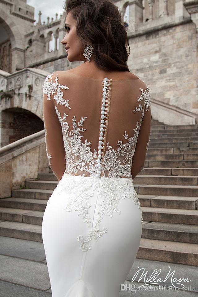 Robe de evlilik Illusion Uzun Kollu Mermaid Gelinlik Sheer Jewel Boyun Aplikler Uzun Gelinlikler Batı Ülke Düğün