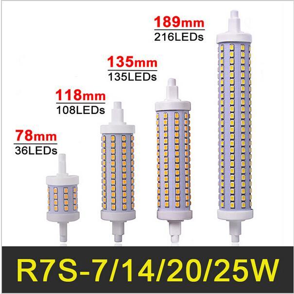 Großhandel R7s Led Lampe 78mm 118mm 135mm 189mm 7w 14w 20w 25w Led