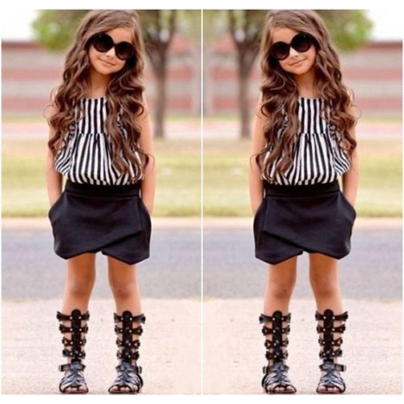2017 Summer Fashion Kids Girl Outfits Baby Girls Stripe Vest Tops ...