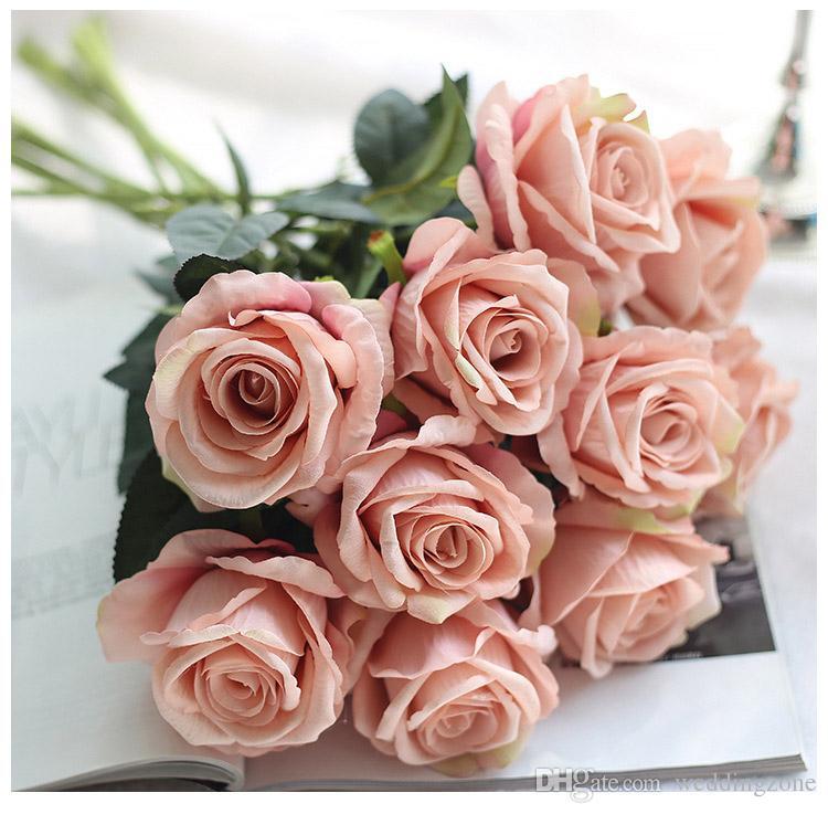 Vintage Artificial Flowers Rose 51 CM/20 Inch Rose Bouquets for Bridal Wedding Bouquet Decoration