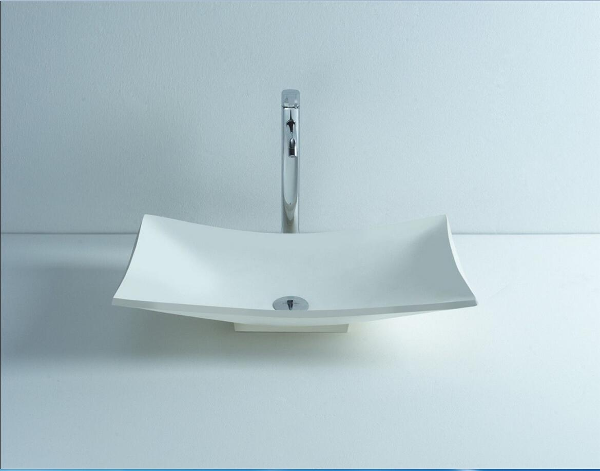 Rectangular Bathroom Solid Surface Stone Counter Top Vessel Sink Fashionable Cloakroom Stone Vanity Wash Basin RS3808