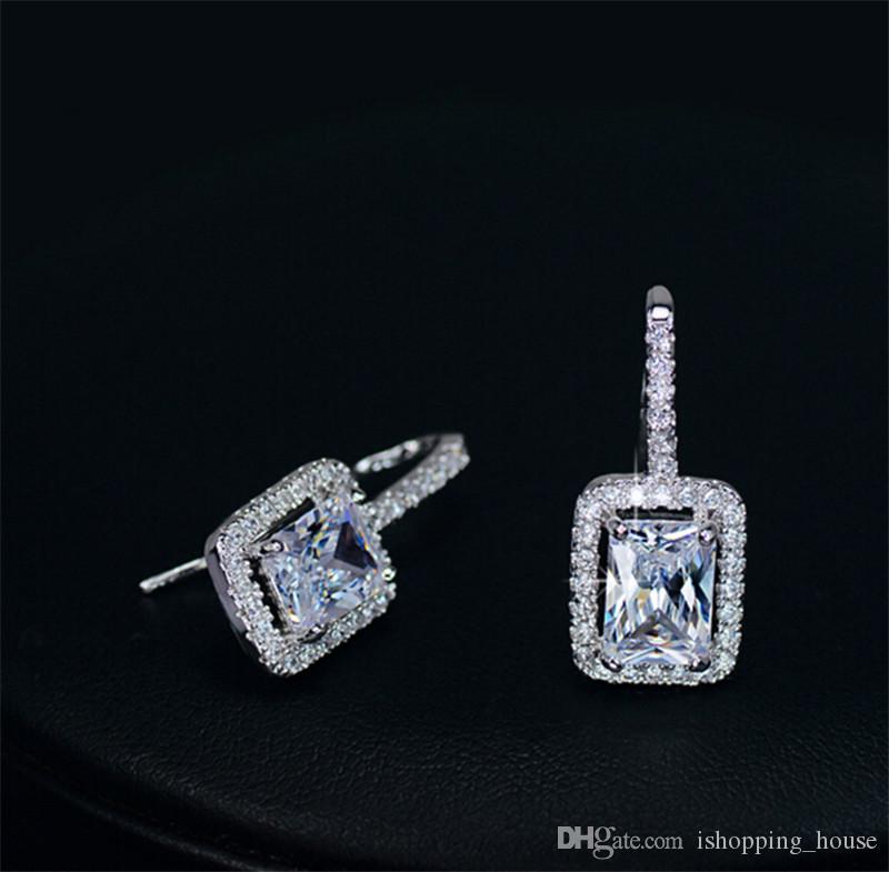 빅 블루 CZ 다이아몬드 로듐 도금 귀 스 터 드 보석 여성 귀걸이 결혼식 파티 ER-263에 대 한 젊은 아가씨를위한 아름다운 소녀를위한 귀걸이