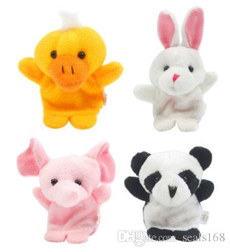 10 unids / lote bebé peluche peluche dedo dedo títere cuenta historia animal muñeca mano títere niños juguetes niños regalo con 10 grupo de animales hh7-92