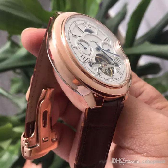 Alta calidad Top Brand men relojes Todos los sub-diales funcionan reloj de lujo Fase lunar daydate reloj de pulsera automático mecánico para hombre regalo rejoles