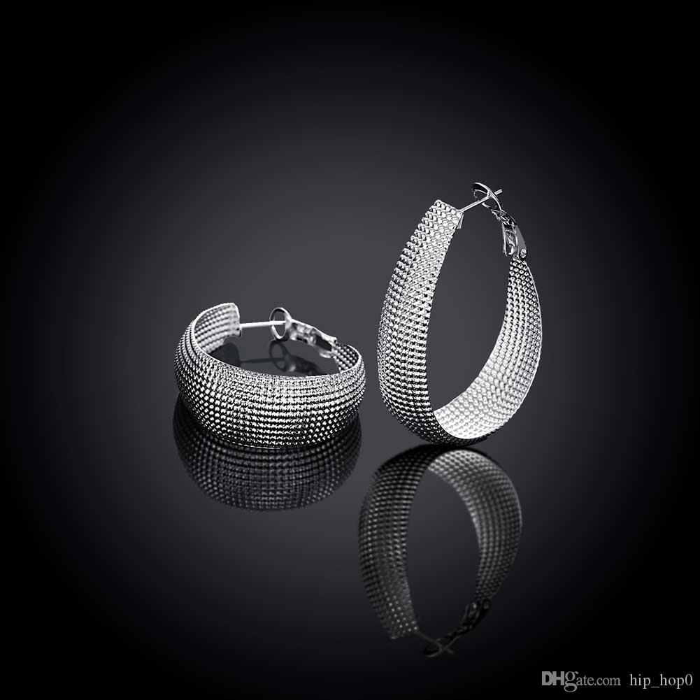 Classic Style Big Hoop Earrings 925 Silver Fashion Braid Mesh Wide Dull Polish Circle Earrings Simple Fashion Beautiful Gift