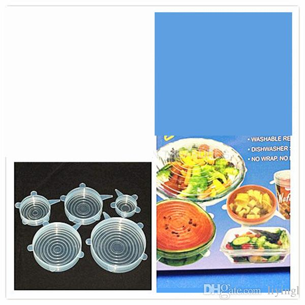 6 size Silicone Bowl Vacuum Suction Cover sealing stretch lid spill stopper keep food fresh preserve universal cover for pots pans mugs FDA