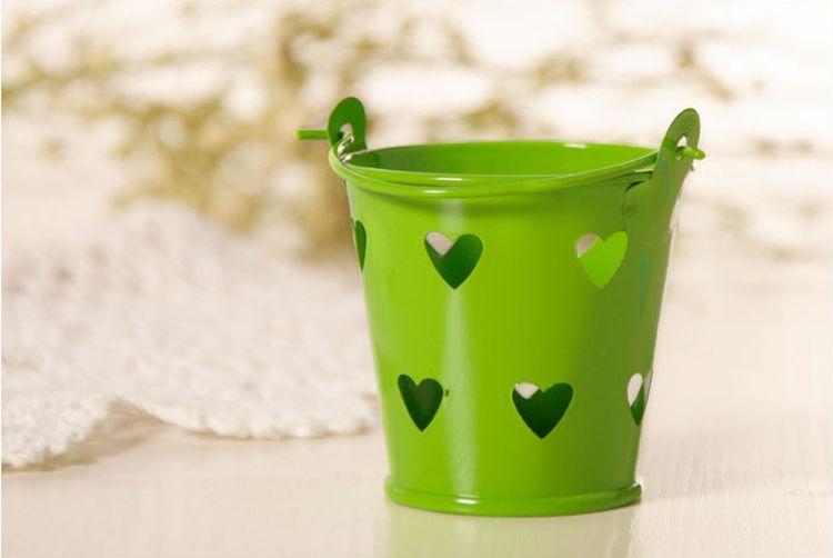 Wholesale Cute Metal Favor Pail Heart Decorative Tin Pots wedding favor candy holders mini bucket for guests souvenir Candle Box