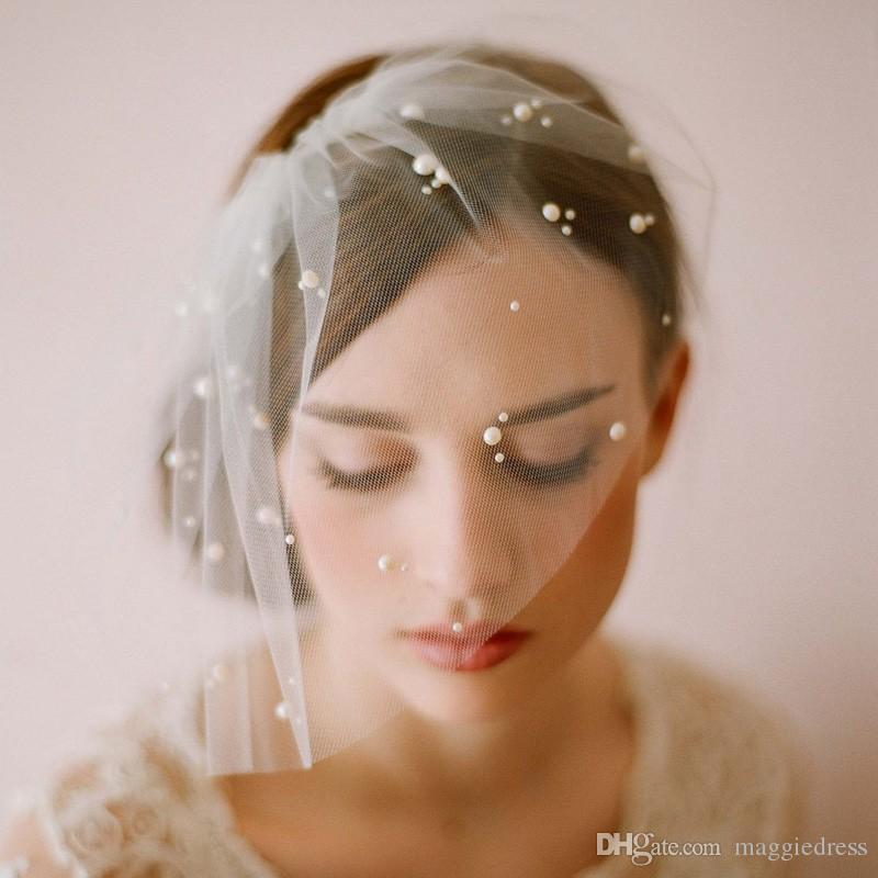 Elegante Tulle de la pluma perlas de imitación de novia sombreros Face Veil Hat Fascinators celada sombrero de fiesta Birdcage velo accesori