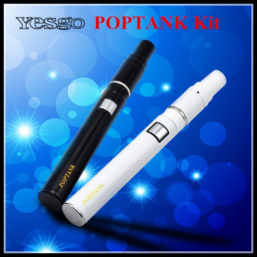 High Quality POPTANK Ceramic Donut Kit Wax Dry Herb Pen Vaporizer Black White Color Atomizer Starter Kit with 650mAh battery