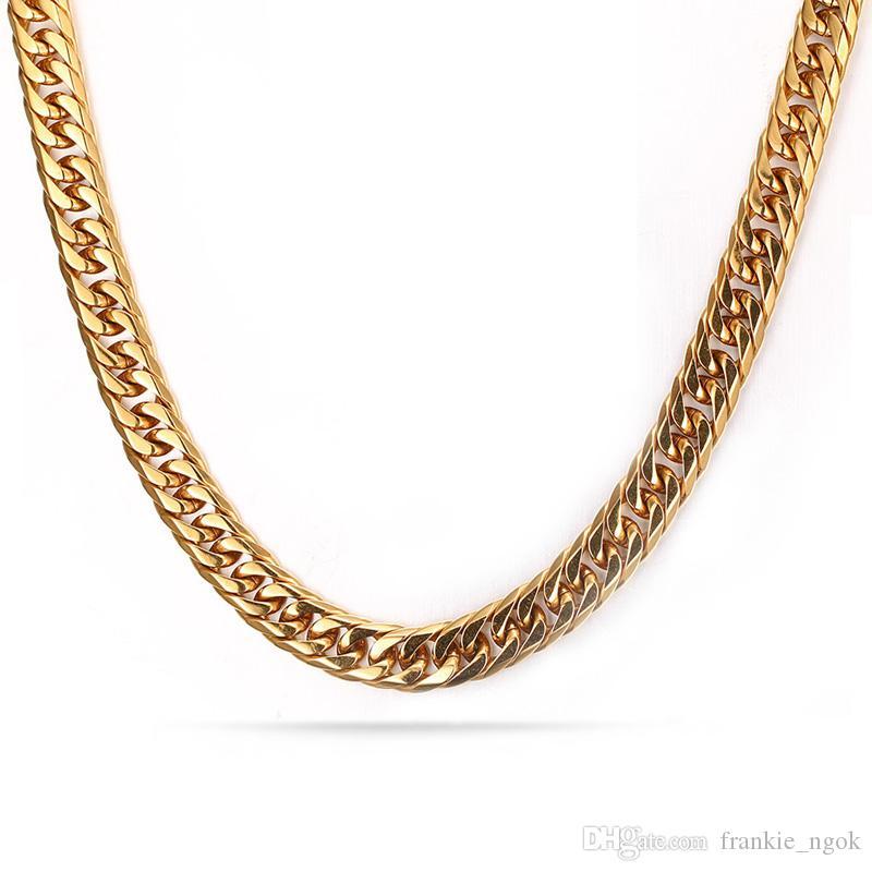 Masculino Clássico Colar de Jóias Joyas Real Titanium Aço Banhado A Ouro 18 K Torcida Homens Moda Cadeias Colar 60 cm * 0.75 cm
