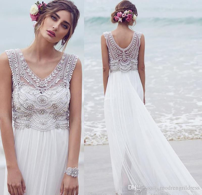 Discount Anna Campbell Real Photos 2016 Beach Wedding Dresses ...