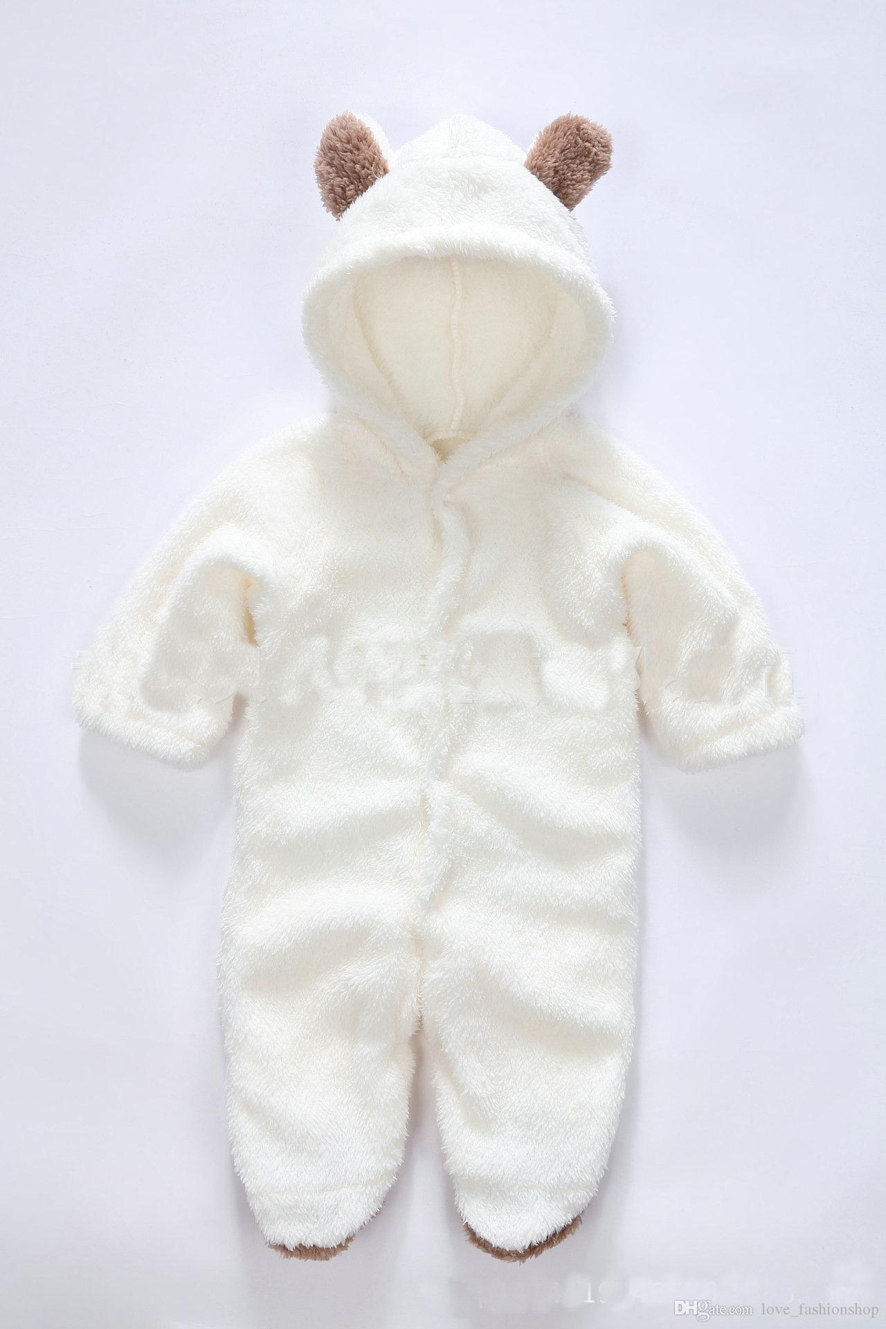 5 stilar baby rompers tjejer pojkar en bit mönster djur varmare tjockna korall fleece jumpsuit klättra kläder barn spädbarn boutique kläder