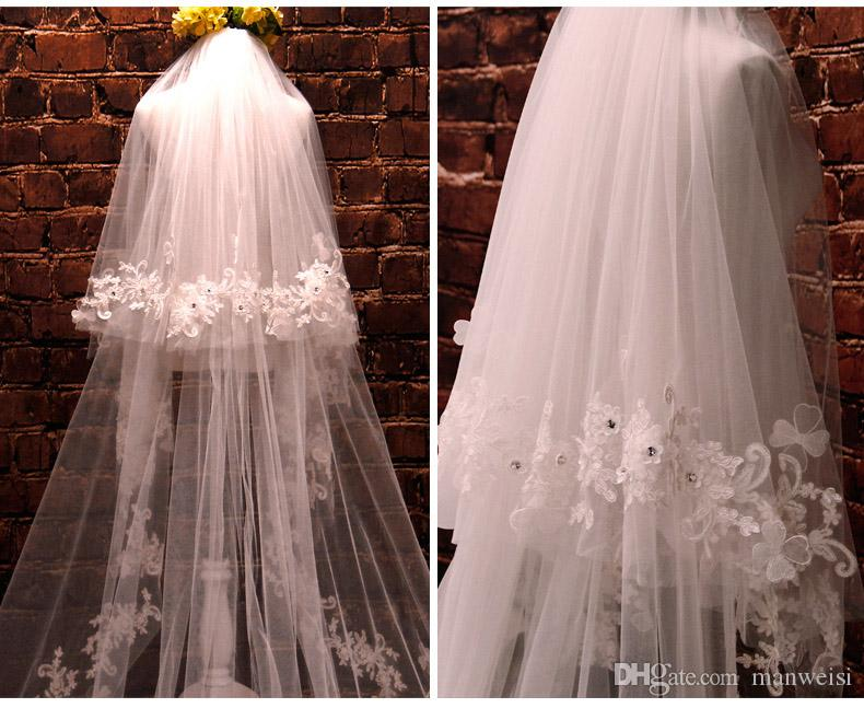 Hottest two layer crystal bridal veils cathedral length tulle m