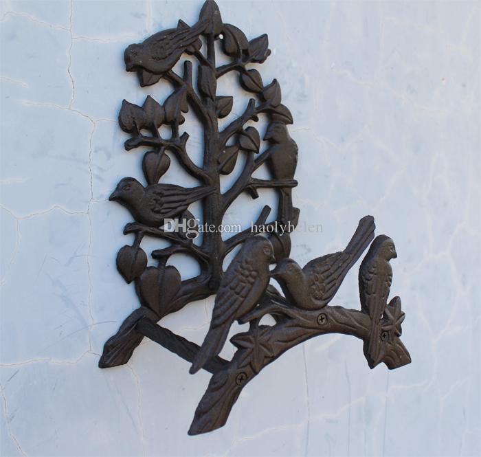 Ferro Fundido do vintage 6 Pássaros Na Árvore Titular Mangueira De Jardim Rústico Decorativo Mangueira Carretel Rack de Suporte De Parede De Metal Ornamentado Artesanato Antigo