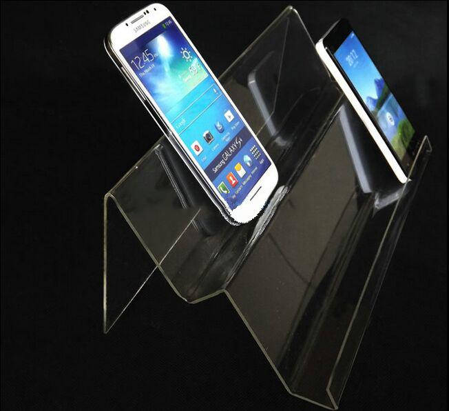 2016 Best selling Double layers long shelf Clear Acrylic Mobile cell phone display stand holder racks Mobile base