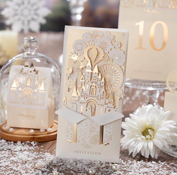 wedding decoration 3d castle shape pop up wedding invitation card