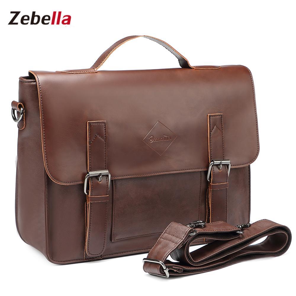 93fd99b4e0da Wholesale Zebella Vintage Men S Business Briefcases Pu Leather Brown Mens  Laptop Messenger Bags Classic Portfolio Document Office Bag New Briefcase  For ...