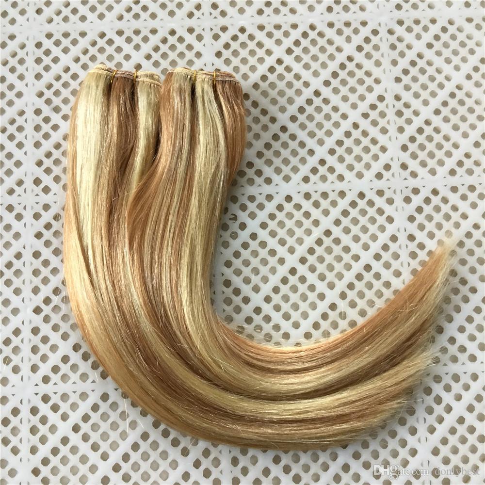 Fashion Style Mix Piano Farbe # 27 / # 613 Brasilianische Remy Menschenhaar Bundles Klavier Farbe Honig Blonde und Blonde menschenhaareinschlag 100 gr / satz