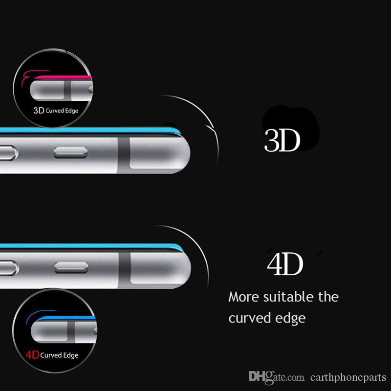 4D Curved Full Cover Tempered Glass For iPhone 6 6S 7 8 Plus Hard Gloss Edges Screen Protector For iPhone X Protective Film