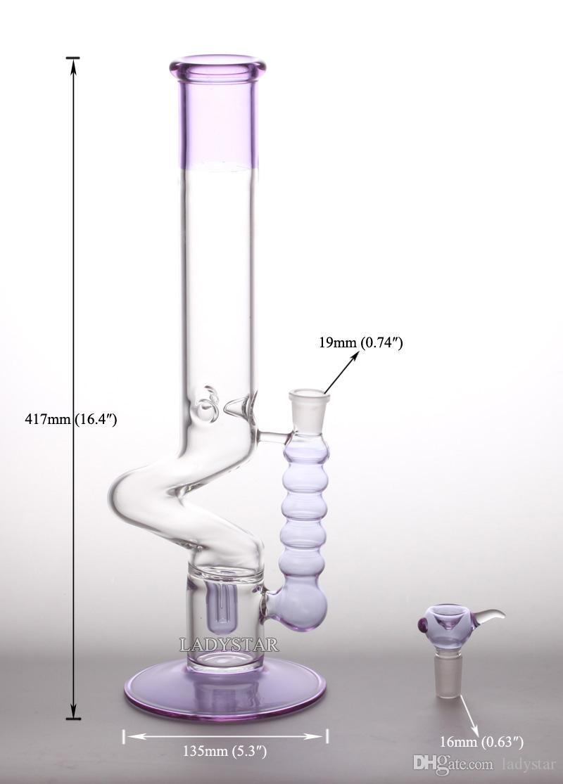 Newe Purple Oil Rigs Glass Bongs Heady Glass Bong Smoking Pipes Glass Water Pipes Spiral Bongs Bowl 18mm Hookah L129A