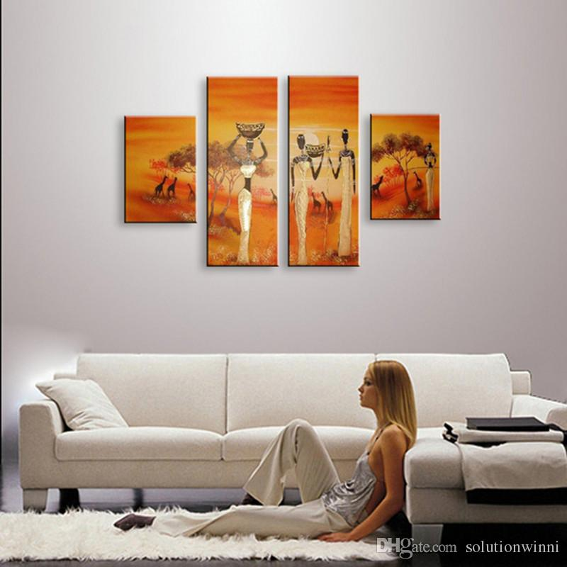 4 Panel Wall Art Pictures Hand Painted Natural Scenery Landscape Oil Painting Acrylic Africa Wome Paintings Orange Canvas Decor