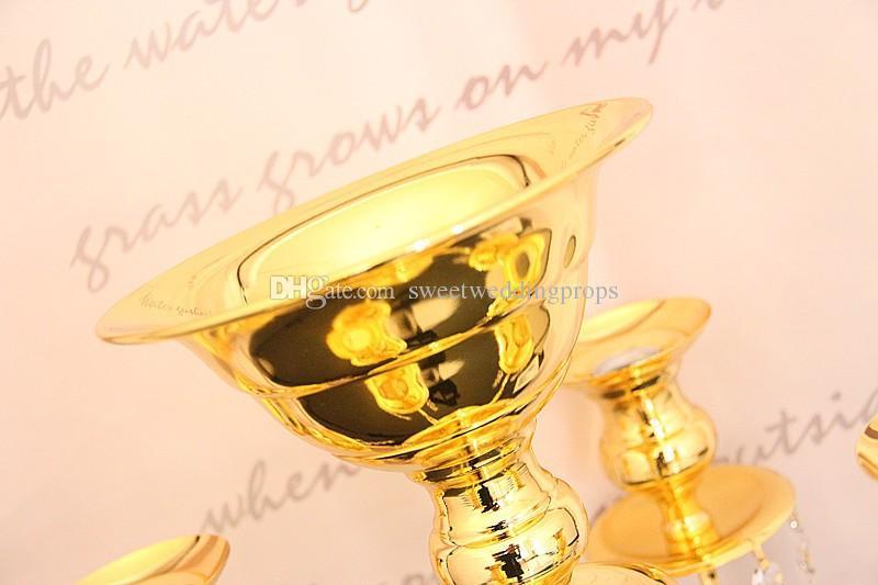 Altın demir çiçek kase top kristal şamdanlar, kristaller masa düğün centerpieces