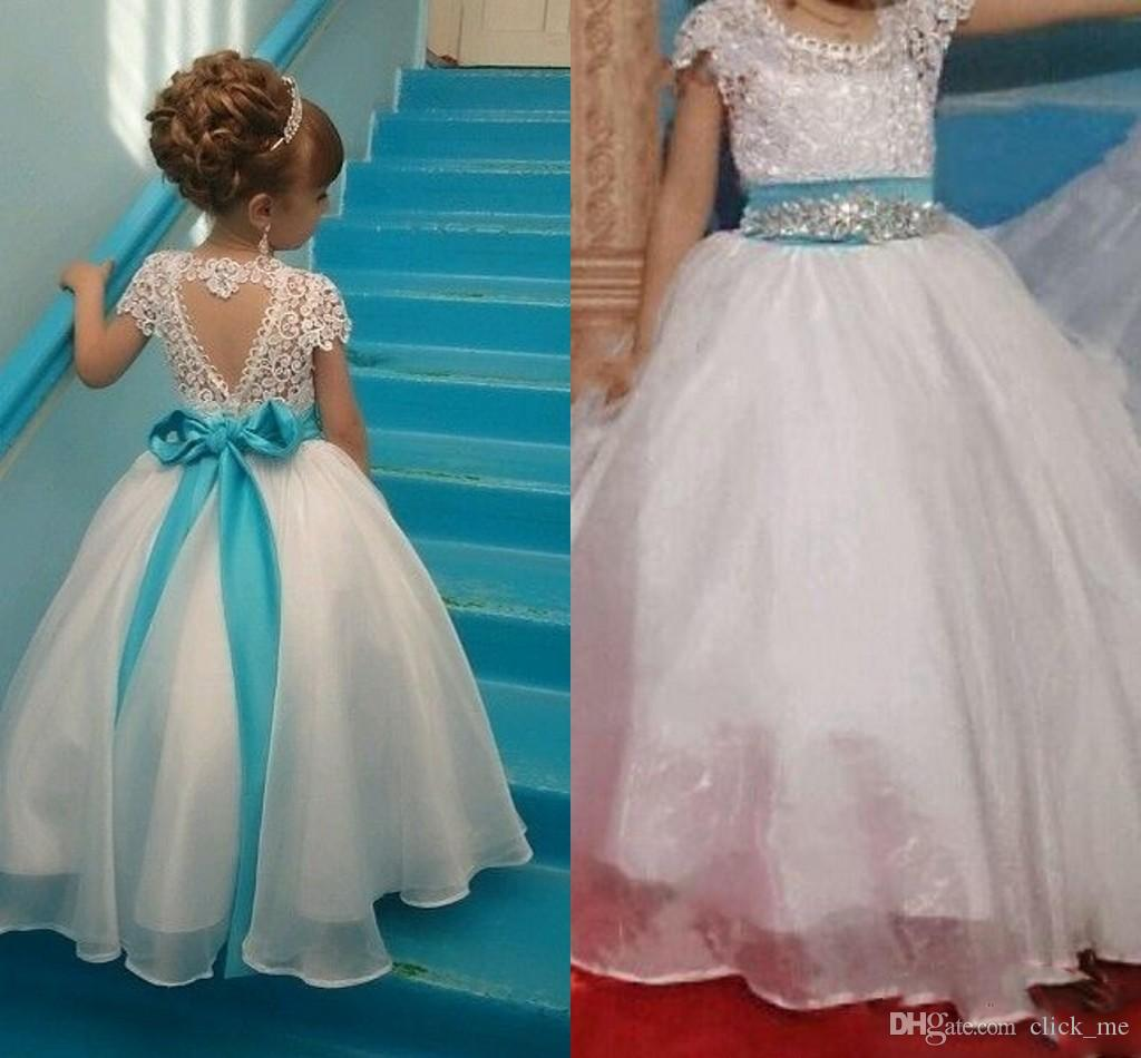 Flower Girls Dresses Jewel Cap Sleeves Top Lace Sash Bow Beads A ...