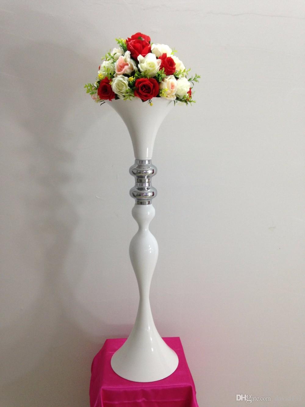 neueste Qualität weiße Trompete Form Vase 11 für Hochzeit Mittelstücke / Hochzeit Vase