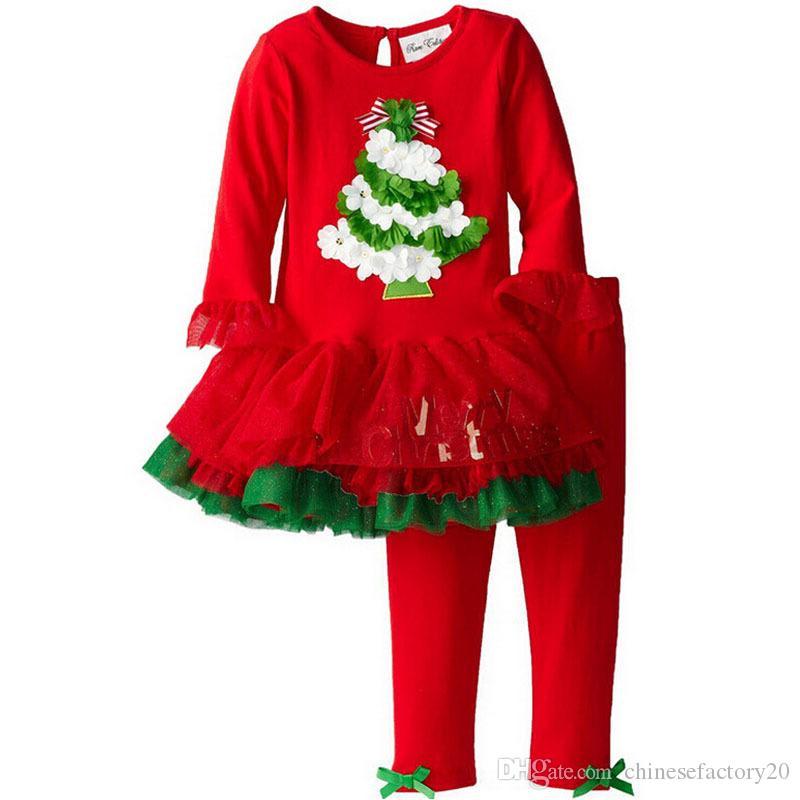 Neonate Moda Autunno Bowknot Abiti Natale Stripe Pizzo Tulle Dot T-shirt Dress + Pants Set manica lunga Pigiama infantile Boutique Outfits
