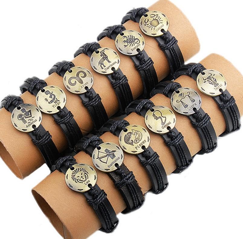 Wholesale mens/women Leather Bracelets hand-knitted bracelets zodiac gift virgo cancer scropio leo pisces arise gemini