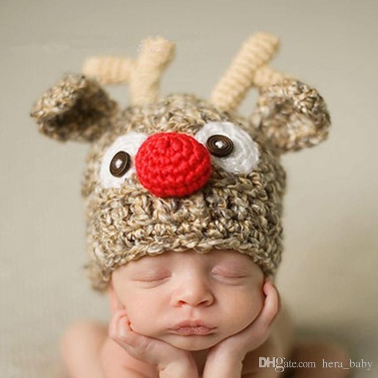 Baby Christmas Hats Children Handmade Cute Newborn Baby Girl Crochet ...