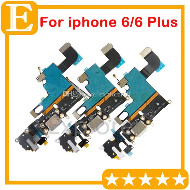 for IPhone 4 4s 5 5G 5s 5c 6 Plus USB Dock Connector Charger Charging Port Flex Cable Headphone Audio Jack Ribbon microphone