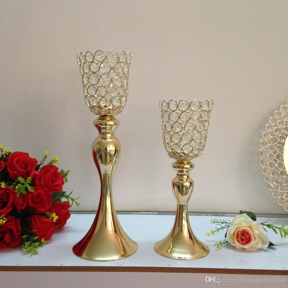 antique Gold crystal p candle holder stand for wedding table centerpieces metal candle stand for home hotel party pillar candle rack