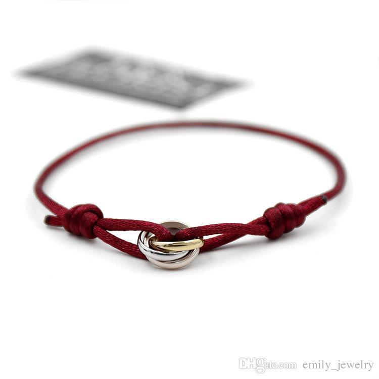 titane acier Trois couleurs Love Bracelet Bracelet pour les femmes amoureux de la corde rouge bracelets de charme femme et hommes mode accessoiriser amitié main