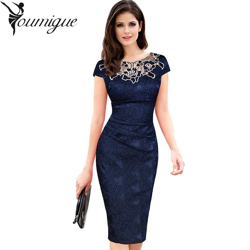 677daa64f92 Wholesale- YOUMIGUE Summer Dress Women Office Vintage Floral Embroidered  Pencil Evening Party Dresses Brazil Vestido De Festa Vestidos Robe Dress  Women ...