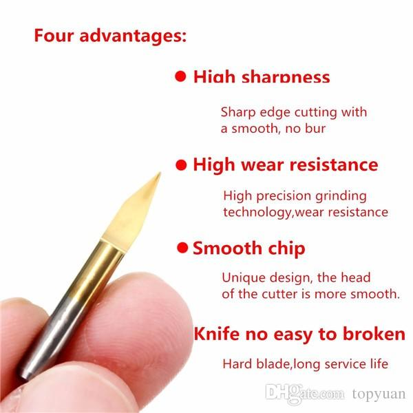 3.175mm Shank 30 Degree 0.2mm PCB Engraving Bits Titanium Coated Carbide CNC Cutter Bits