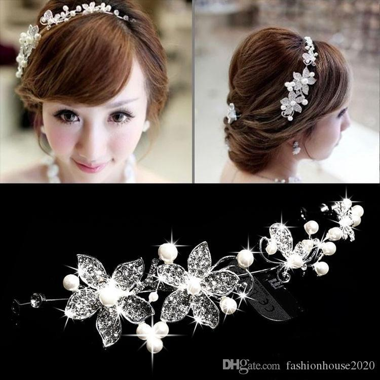 2015 Cheap Hot Spring Bridal Tiaras Crowns In Stock Headband Wedding Hair Accessories Faux Pearl Flower Shiny Crystal Tiara Jewelry Pins