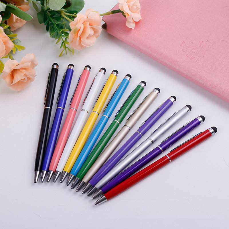 11 cores 2 em 1 caneta stylus capacitivo caneta esferográfica capacitivo universel para iphone 7 samsung s8plus s5plus telefones inteligentes frete grátis