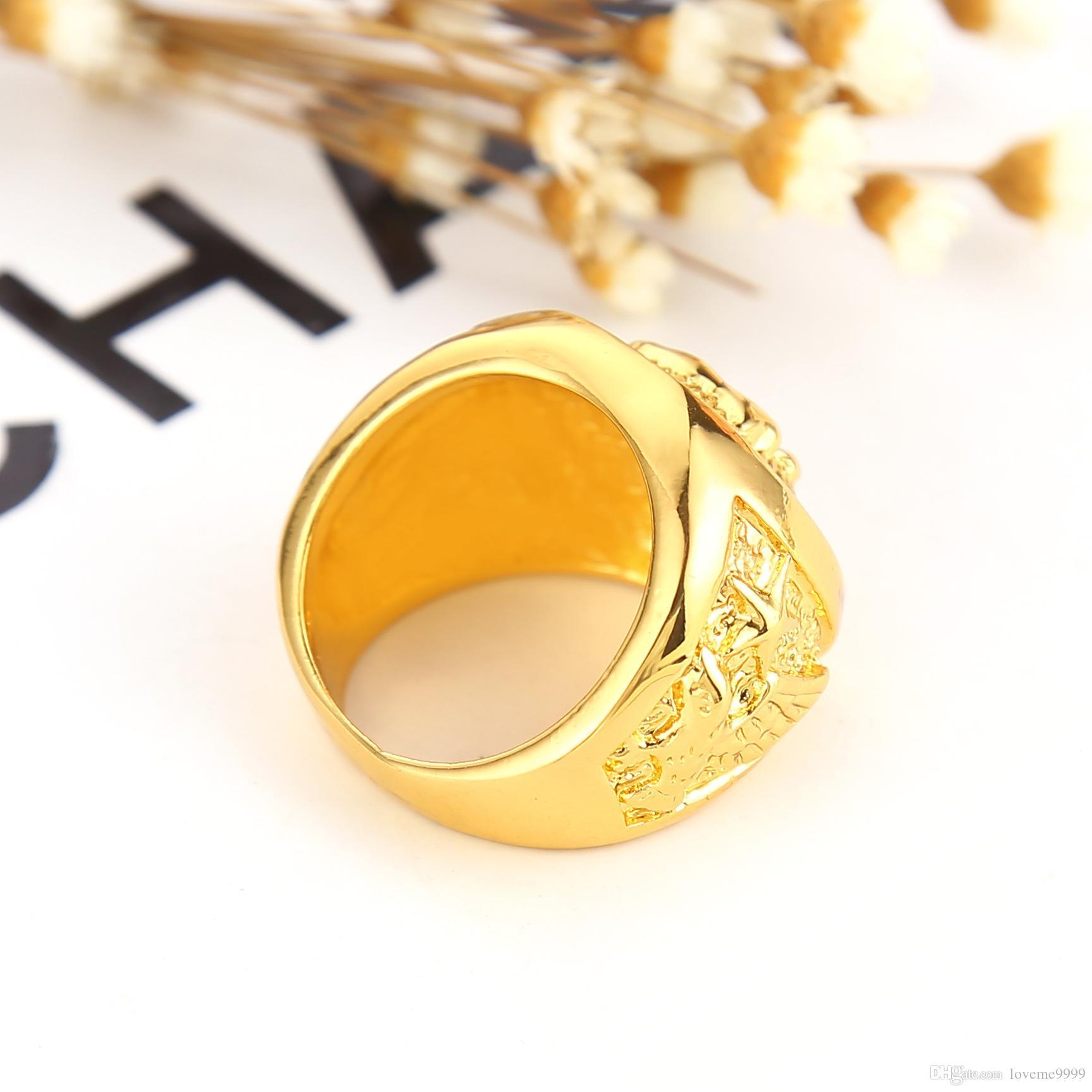 Высокое качество хип-хоп Лев голова кольцо мужская liion лицо кольцо 24K GP желтое золото кольцо для мужчин размер 7, 8,9 10,11