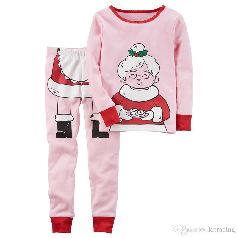 Kids Christmas Printing Pajamas Boy Girls Santa Claus Mrs Claus Printed  Homewear Baby Cute Xmas Clothing For 1 5T Kids Christmas Pajamas Pajamas  For Kids ... 0b556f439