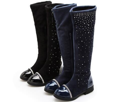 Hot Eltern-Kind-Schuhe Prinzessin elegante Strass Mädchen High-Leg-Stiefel Kinder Schneekind immer nach hohen Stiefeln