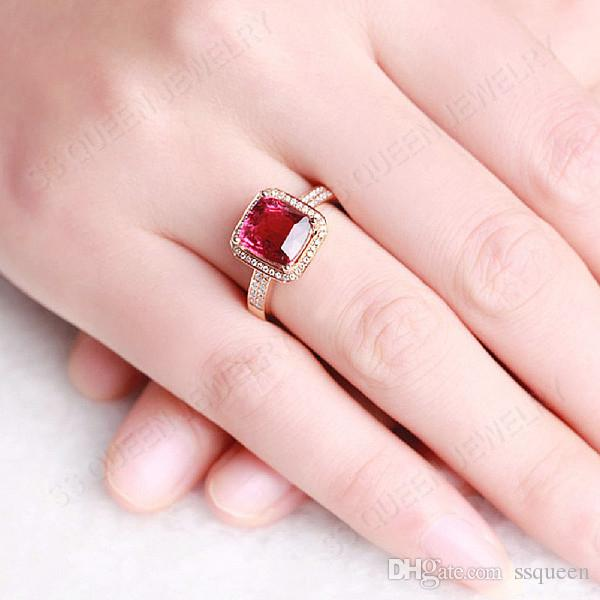 35% silver anti-allergic Wholesale 18K rose gold plated Silver square red corundum royal synthetic Ruby silver ring for women