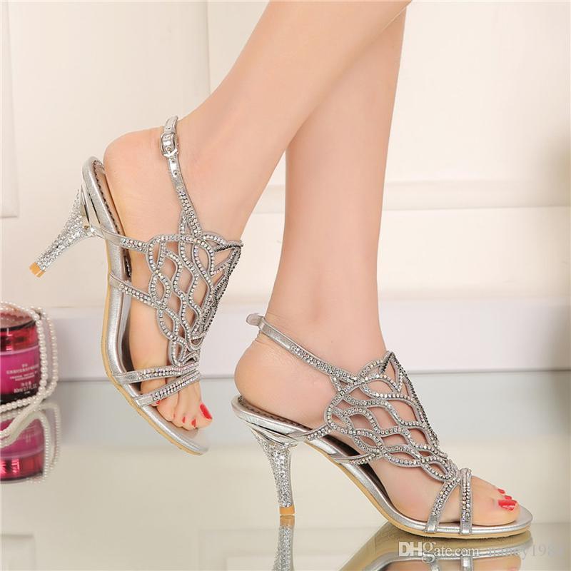 Moda sandalias de verano con diamantes de imitación hermosa boda banquete de tacones altos más el tamaño 34-negro oro plata disponible