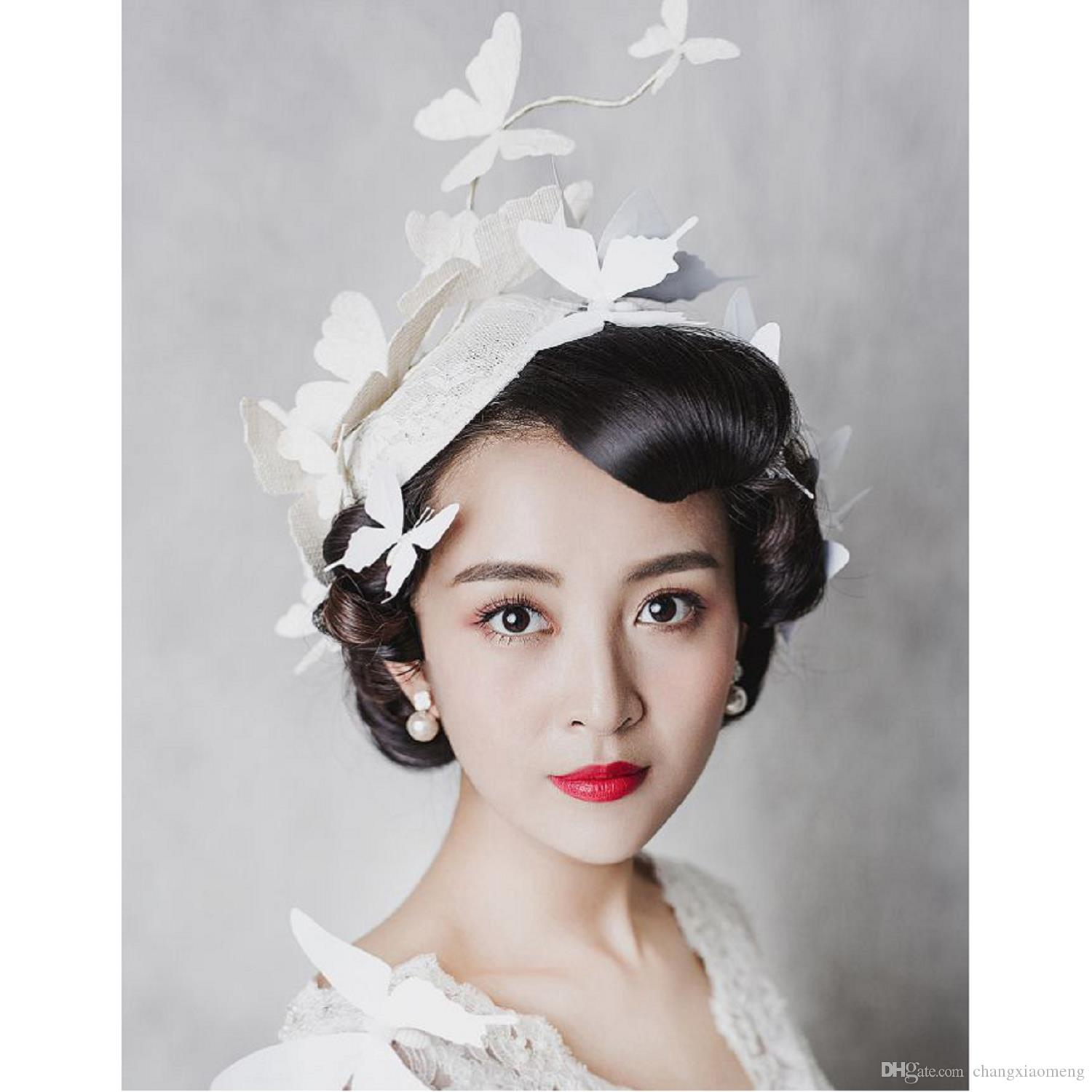 2017 Bridal Veil Accessories Feathers Hat Clip For Christmas Party Wedding Hair Wear Elegant Noble Exaggeration Mystery Butterfly Beige Bridesmaid
