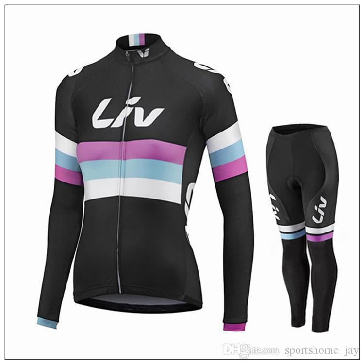 nuovo arriva 2016 nero Maglie ciclismo LIV Set donne autunno manica lunga abbigliamento bicicletta e nessuno pantaloni bavaglino comodi kit da ciclismo