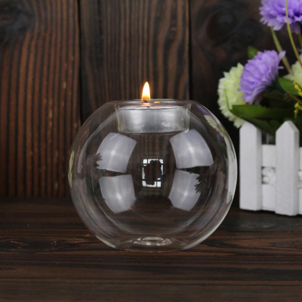 5103517f5a 8CM/10CM/12CM Clear Round Hollow Heat Resistant Glass Candle Holder Wedding  Fine Candlestick Dining Room Home Decorations Silver Lantern Candle Holder  ...