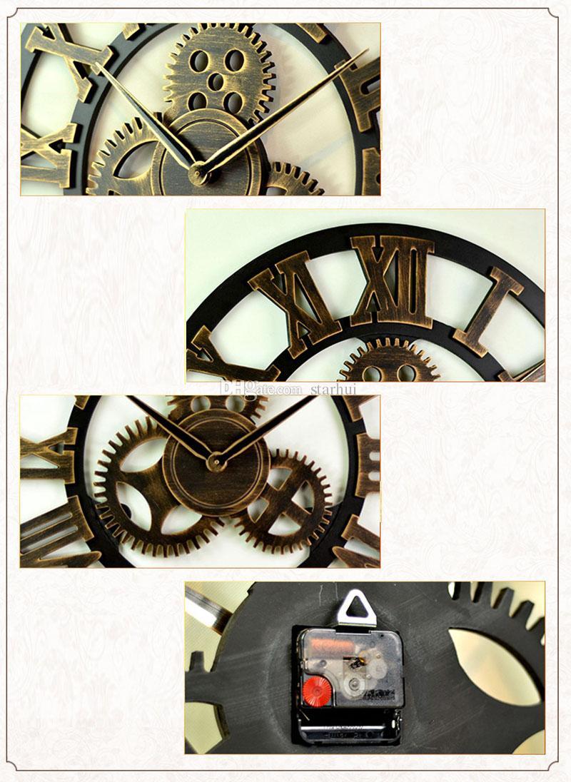 4 Style Vintage Creux Gear Ronde Horloge Creative Maison Salon Chambre Décor Horloges Murales Livraison Gratuite WX9-44