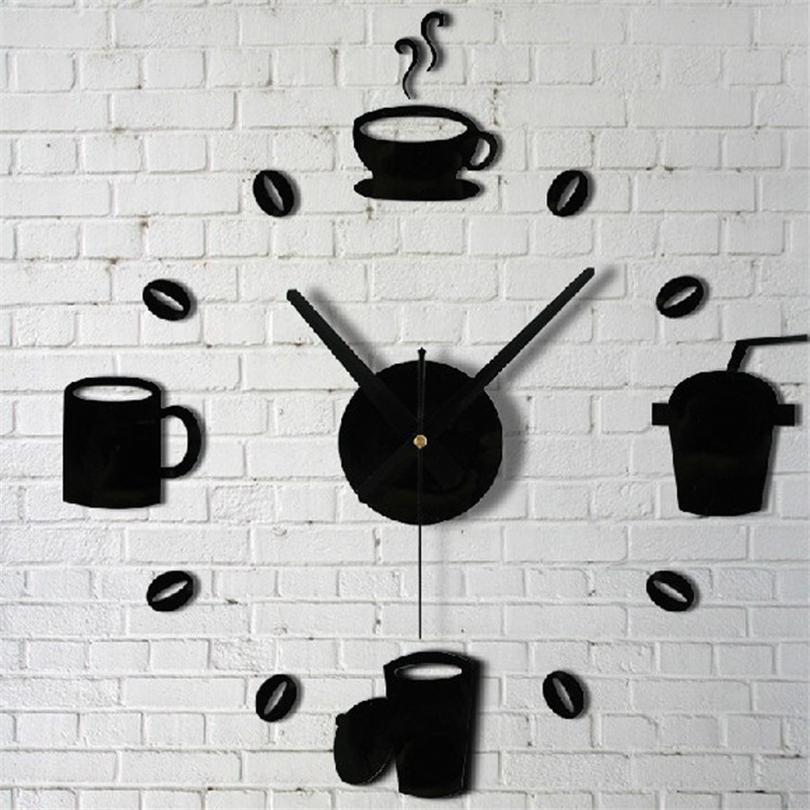 Compre Tazas De Café Cocina Arte De La Pared Reloj De Espejo Diseño ...